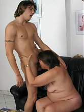 Mature slut getting fucked on her couch