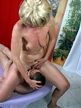 Mature nympho caught playing by her horny neighbour