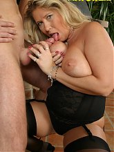 Horny big titted MILF sucking and fucking her tits off