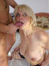 Horny blonde mature slut sucking and fucking