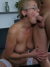 Horny blonde mature gets done by a younger man