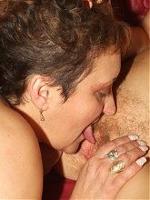Lesbian grannies Steph and Julianna play with their tits and pussies by giving it a lick and a finger live