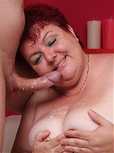Mature BBW Margaret got her tits pleasured and her fat cooter fucked after sucking a cock