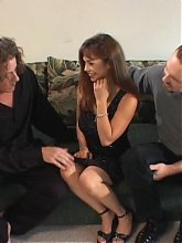 Brunette housewife Maria got her pussy slurped and fucked hard in this nasty threesome