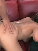 Blonde wife Kelly Leigh shows up in lingerie and joins our stunt cock on the couch for hot sex