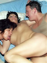 Explicit videos of matures Marsha and Agnes double teaming in milking a young cock