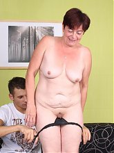 Intense webcam show with sexy grandma Simone sucking off and riding a younger guys dick