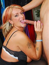 Joanna Depp invites a younger guy into her dressing room for an explicit live sex show
